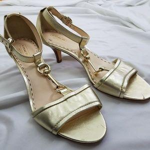 Coach size 10B Gold Horsebit Sandals Kitten Heel